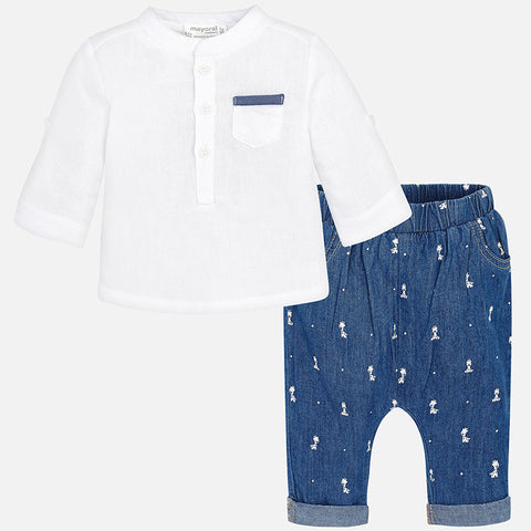 2-piece Long Trouser Set - Denim Blue Giraffe