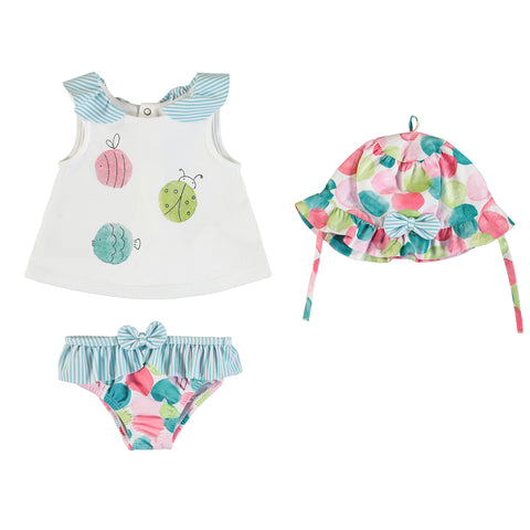 Bathing Suit Set w/ hat- Turquoise
