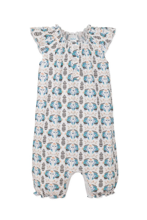 Angel-Sleeve Romper - Parrots on White