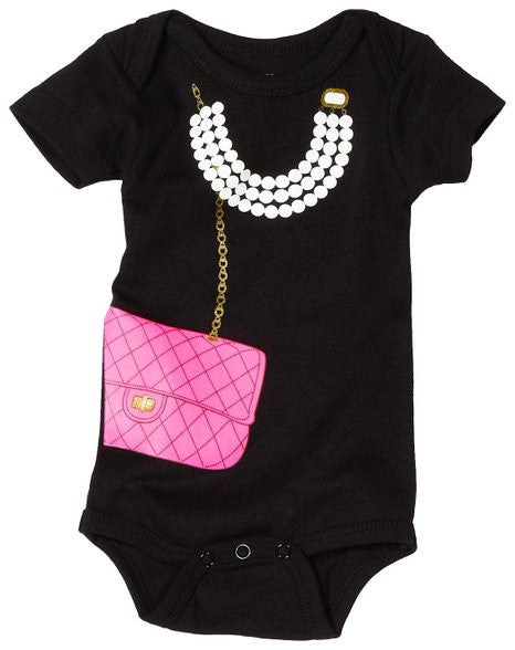 Onesie-Black with Pink Bag & Pearls