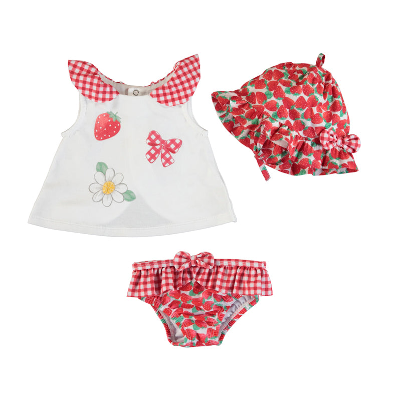Bathing Suit Set w/ hat- Red