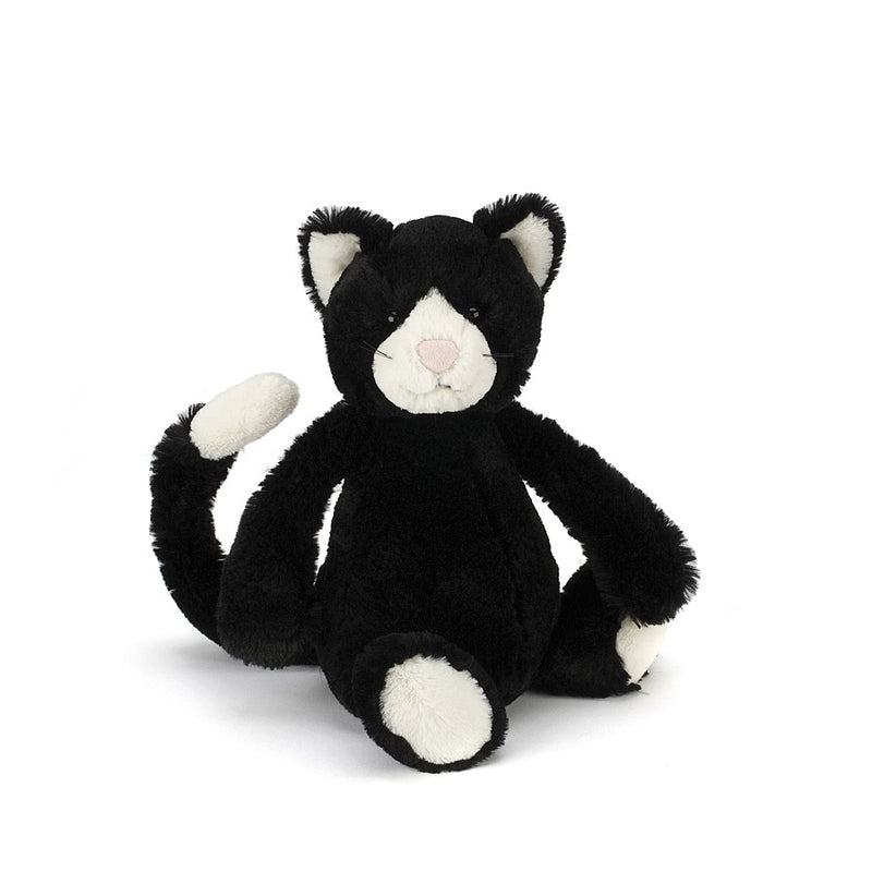 Bashful Black & White Cat - Medium 12""