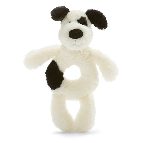 Bashful Black & Cream Puppy Ring Rattle - 7""