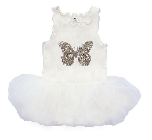 Baby Butterfly Tutu Dress - White