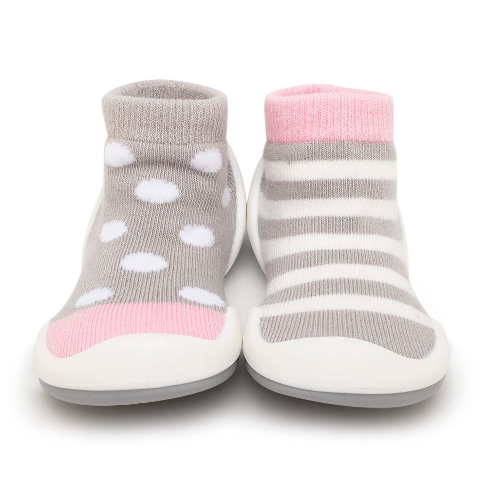 Komuello Baby Shoes - Dots & Stripes - Pink
