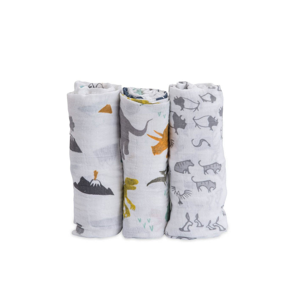 Cotton Muslin Swaddle 3 Pack-Dino Friends Set