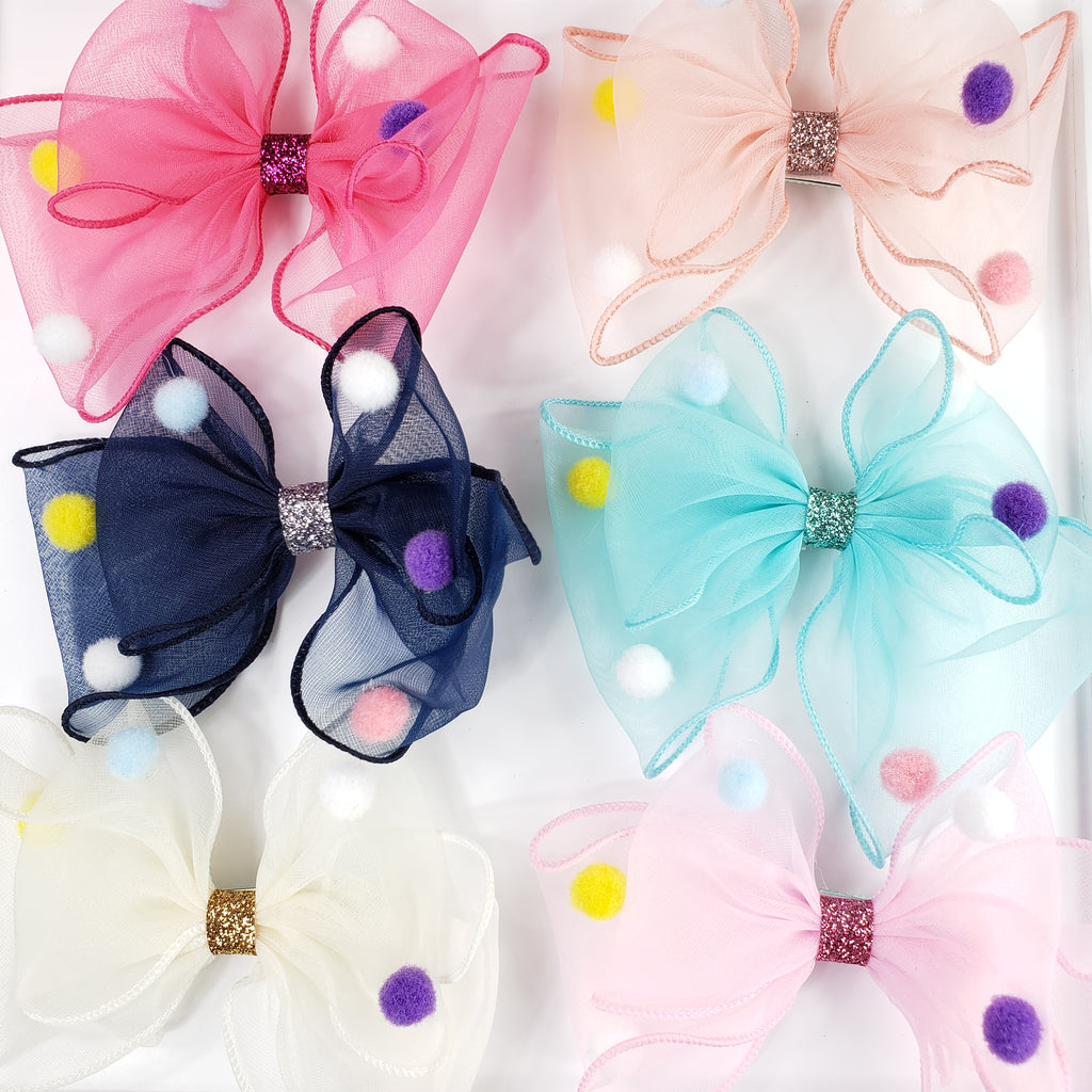 Large Organza bow hair clip with pompom
