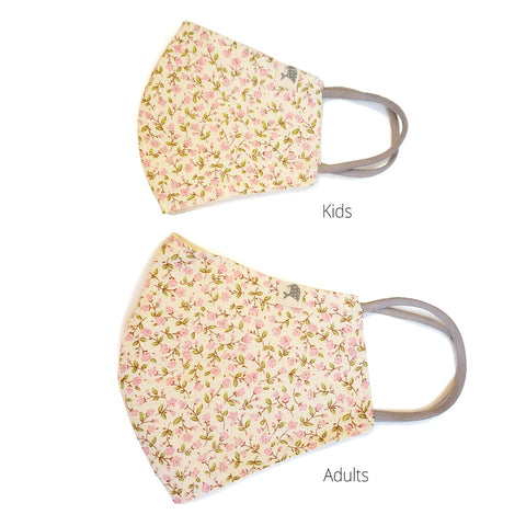 ADULTS/KIDS Reusable/washable Cotton Mask - Elastic ear loops/Contour (Country Flowers)