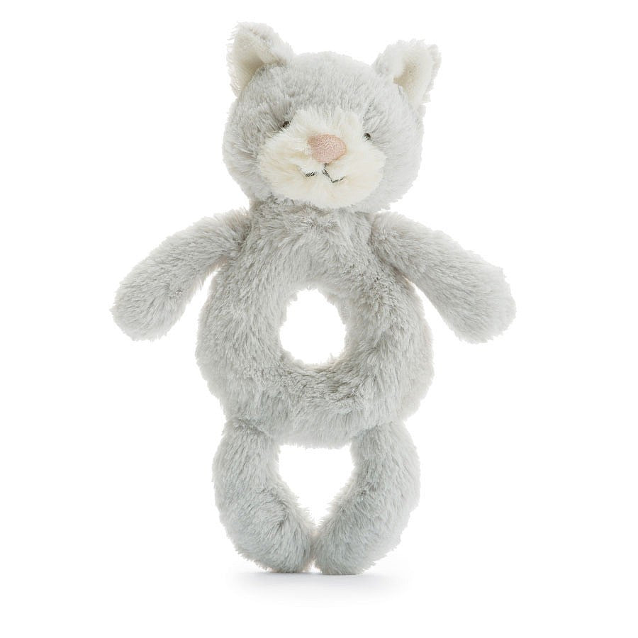 Bashful Grey Kitty Ring Rattle