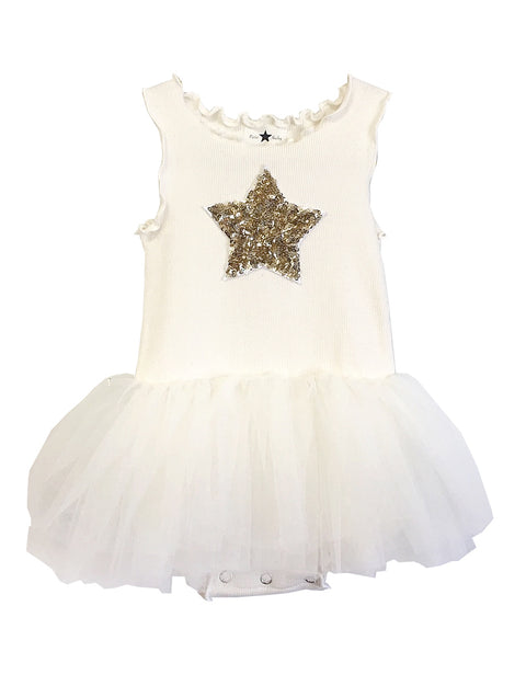 Baby Star Onesie Tutu Dress-Ivory