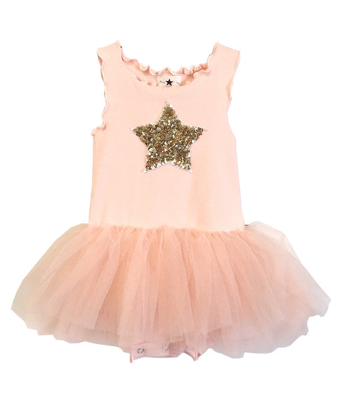 Baby Star Onesie Tutu Dress-Pink