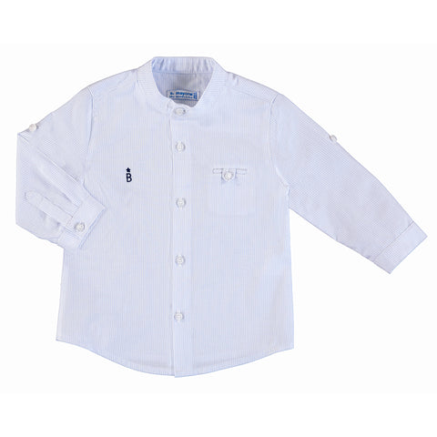 L/s Mao Collar Shirt - Light Blue