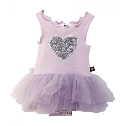 Heart Baby Onesie Tutu Dress - Lavender