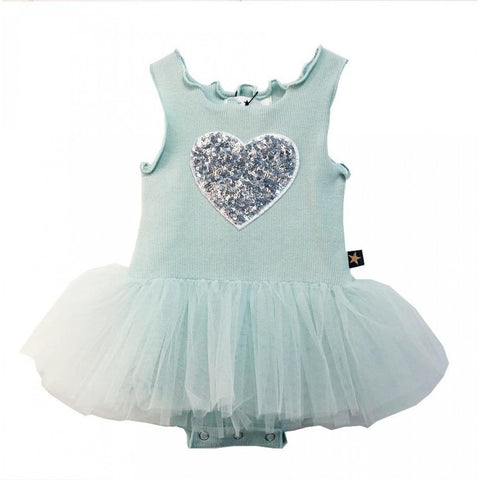 Heart Baby Onesie Tutu Dress - Mint