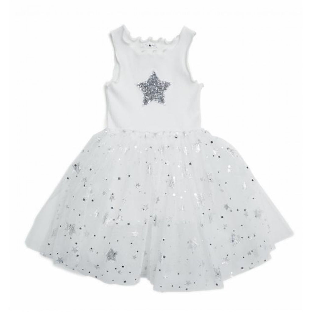 Sparkle Star Tutu Dress - White