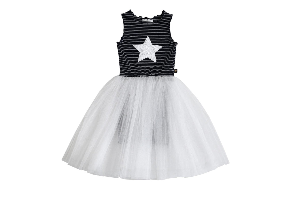 Stripe Star Tutu Dress - Navy