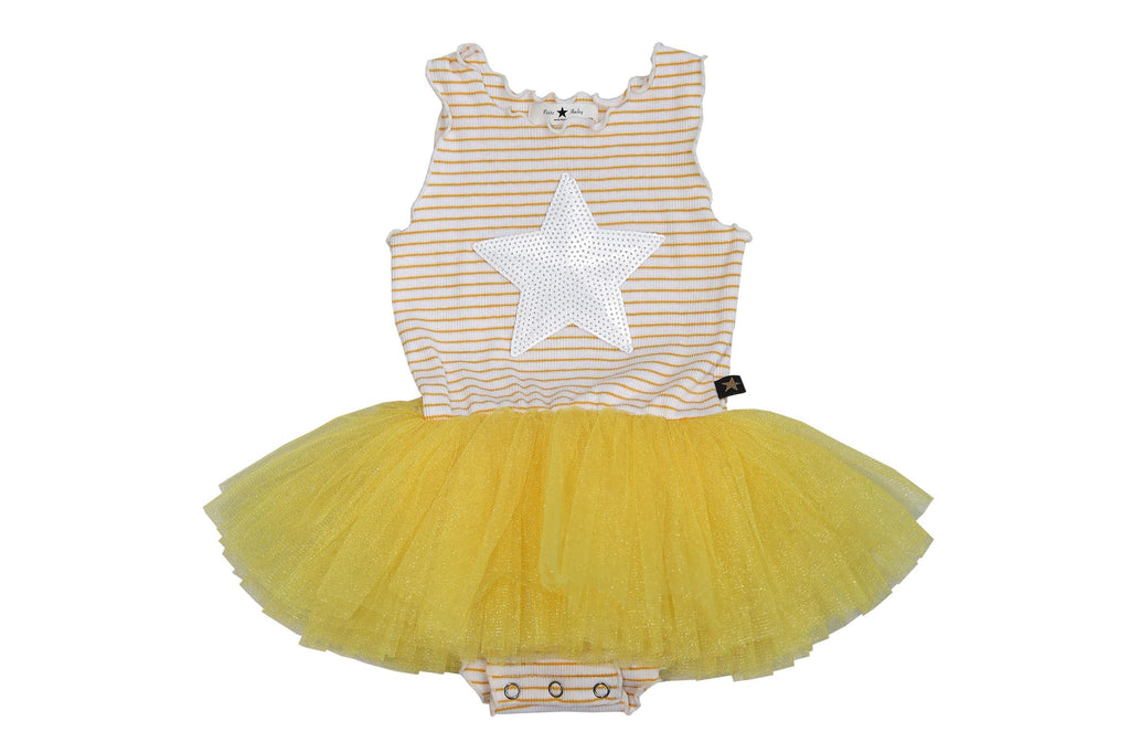 Baby Stripe Star Tutu Dress - Yellow