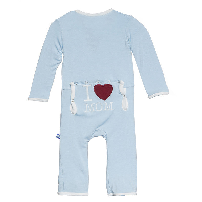 Applique Coverall -Pond I Love Mom