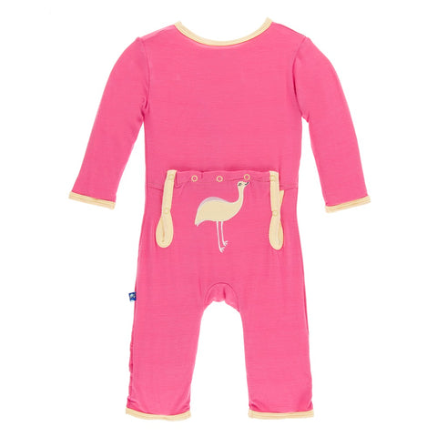 Applique Coverall -Flamingo Emu