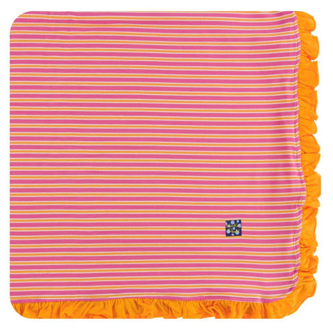Ruffle Toddler Blanket - Flamingo Brazil Stripe