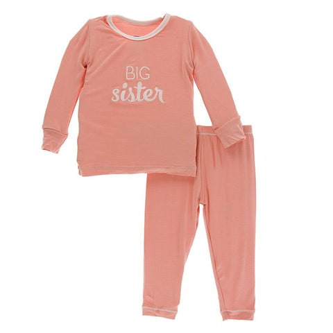 Applique Pajama Set - Blush Big Sister