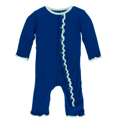 Muffin Ruffle Coverall - Flag Blue with Pistachio