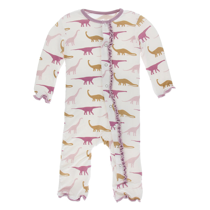 Muffin Ruffle Coverall (Snaps) - Natural Sauropods