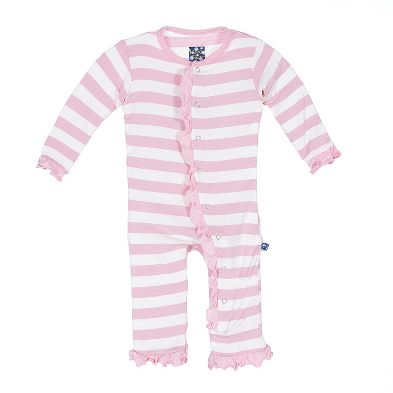 Ruffle Coverall - Lotus Stripe