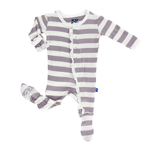 Ruffle Footie - Feather Stripe