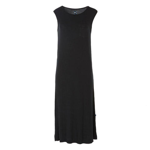 Solid Midi Tank Nightgown with Pocket - Midnight