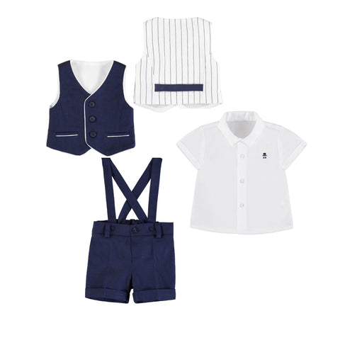 3-piece Vest  Set w/ Short Pant Suspenders