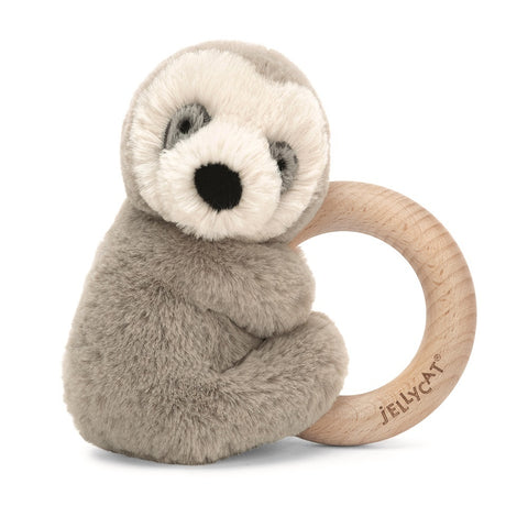Bailey Sloth Wooden Ring Rattle 6""