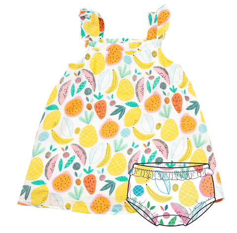 Tropical Fruit Sundress & Diaper Cover