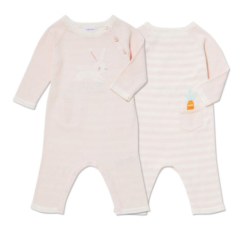 Bunny Intarsia Knits Pink Coverall