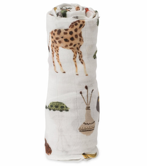 Cotton Muslin Swaddle 2 Pack- Safari Social Set