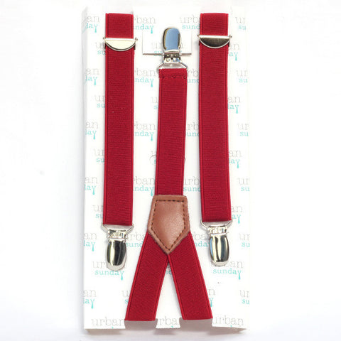Suspenders - Solid Red