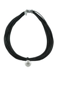 Piano Wire Necklace with Pearl