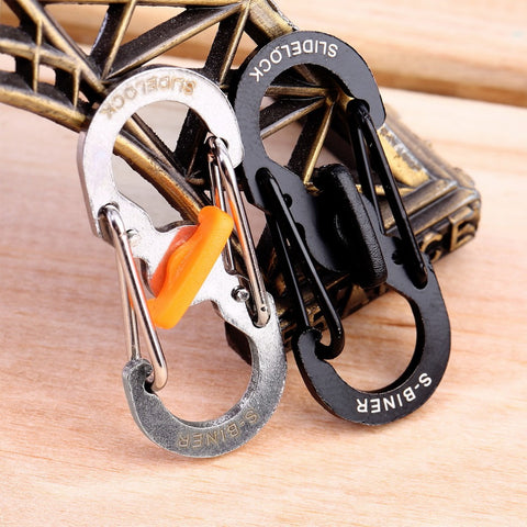 1pc 8 Shape Plastic Steel Carabiner Key Chain Hook Clip Outdoor Camping Hiking Snap