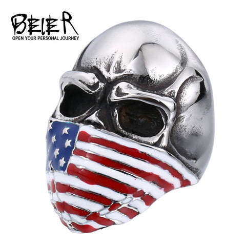 BEIER American Flag Stainless Steel Skull Ring for Man