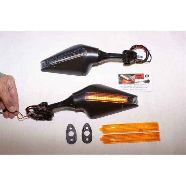 Triumph 675 with Ducati Stealth LED Mirrors Blk 6433/34 Pair