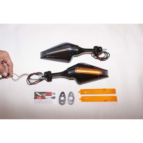 Triumph 675 with Ducati Stealth LED Mirrors Blk CF 6435/36 Pair