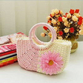 Pink Straw Hand Bag - Canadian Online Shopping Hub - 1