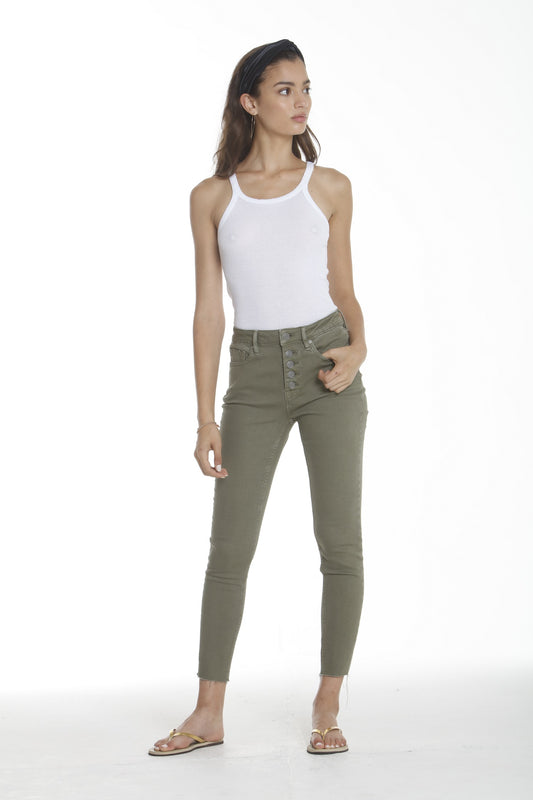 Ace High Rise Button Front Skinny - Olive