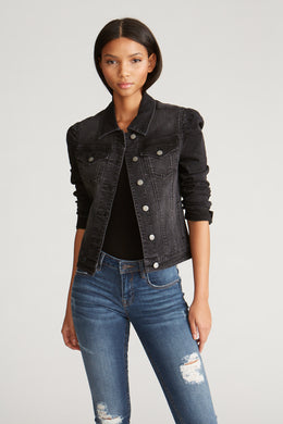 Puff Sleeve Denim Jacket - Black