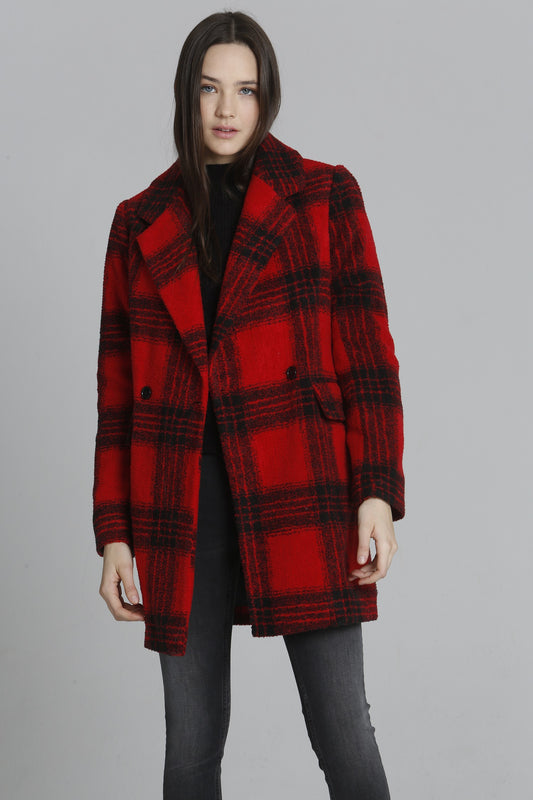 Wool Long Coat - Buffalo Plaid