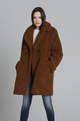 Teddy Sherpa Coat - Cognac