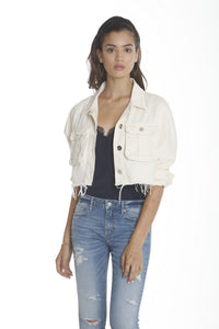 Cropped Denim Trucker - Cream