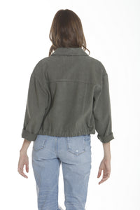 Twill Crop Jacket - Olive