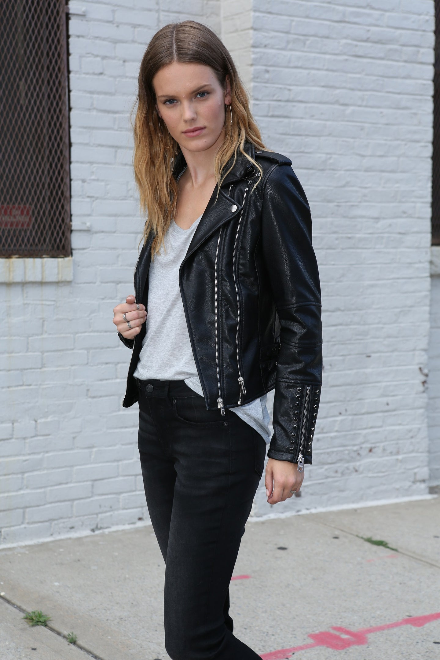Faux Leather Moto - Studded