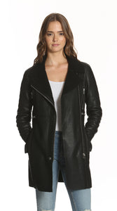 Image of a women wearing and unzipped black leather biker jacket from Vigoss